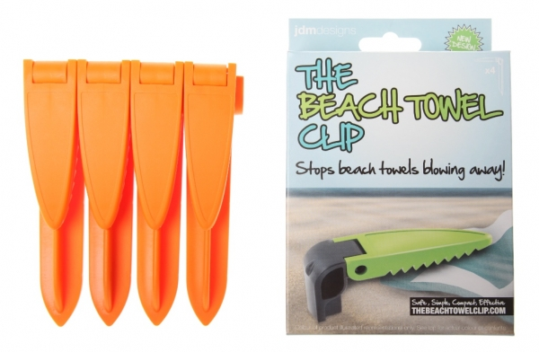 classic orange beach towel clips and carton buy now only £9.99/set+p&p
