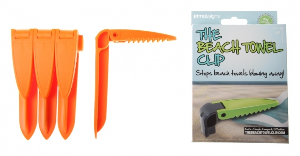 Orange beach towel clips & carton